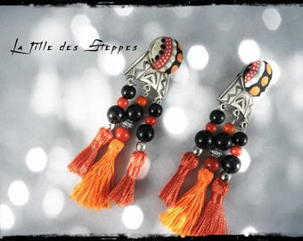 SOLD - Earrings - the daughter of arid - metal, greyscale multicolored fabric and orange silk tassels