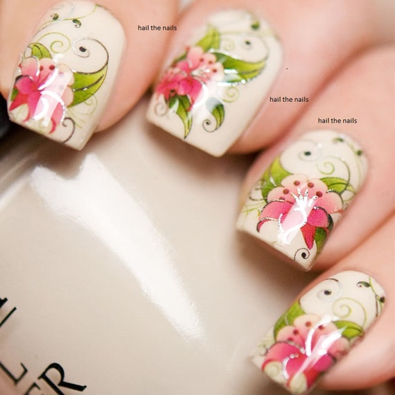 Nail Wraps Nail Art Nail Decals Water Transfers Pink Flower