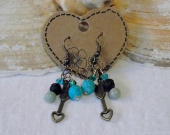 Turquoise Earrings, Arrow Earrings, Arrow Jewelry, Aqua Earrings, Diffuser Earrings, Oil Earrings, Diffuser Jewelry, Chakra Jewelry, Arrows