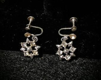 Vintage Rhinestone Star Earrings Screwback
