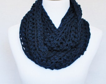Blue Crochet Infinity Scarf, Navy Blue Ribbed Cowl, Loose Stitch Wrap Scarf, Chunky Neck Warmer - Long Infinity, Dark Blue