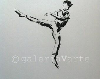 Original ink drawing - Modern Dancer