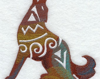 Southwestern Silhouette Wolf or Coyote Embroidered Flour Sack Hand/Dish Towel