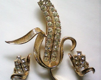 Sarah Coventry Brooch and Clip Earring Set - 5941
