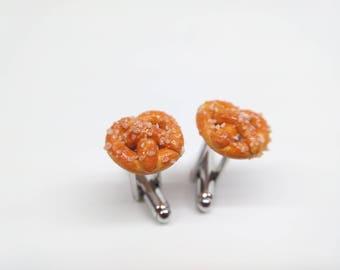 Pretzel Cufflinks, Men's Jewelry, Men's Cufflinks, Food Cufflinks, Men's Accessories, Handmade Polymer Clay Food