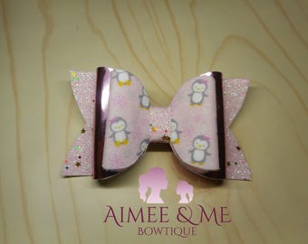 Pink Penguin Bow