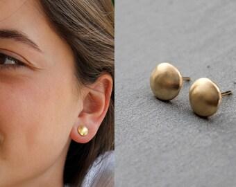 Gold Post Earrings, Everyday Earrings for Women, gold round earrings studs, Gold Circle Studs Gold minimalist earrings gold nickel free stud