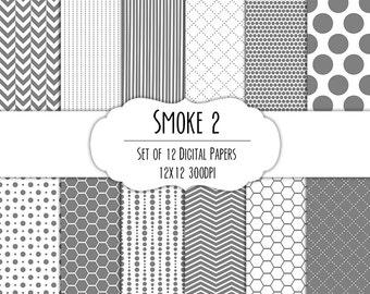Smoke Gray 2 Digital Scrapbook Paper 12x12 Pack - Set of 12 - Polka Dots, Chevron, Hexagon - Instant Download - Item# 8103
