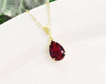 Red Necklace - Swarovski Necklace for Bridesmaids - Teardrop Necklace Gold - Bridal Jewelry - Bridesmaids Jewelry - Swarovski Jewelry