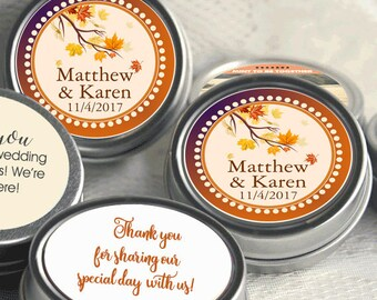 Personalized Tin Mints - 12 Wedding Mint Tins  - Fall Wedding Favors - Fall Weddings - Rustic Weddings - Fall Wedding Decor- Maple Leaf