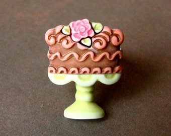 Miniature Chocolate Cake Adjustable Ring