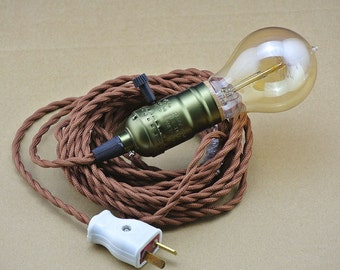 UL socket Twisted Fabric Wire - 250cm 8.2ft Cloth cord - Antique Vintage Style - Vintage Cord - Edison light bulb Lamp - wall Plug