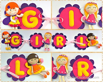 Fairy Theme Name Girl Birthday Banner, Personalized Felt Name Garland/Bunting, Birthday Party Room Wall Decoration
