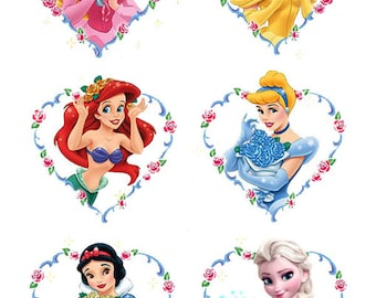 6 Disney Princess Heart cake topper edible wafer paper image wf
