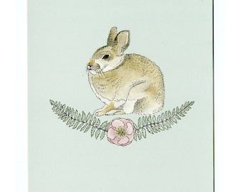 Rabbit with Ferns and Flower - 5x7 Mini Print