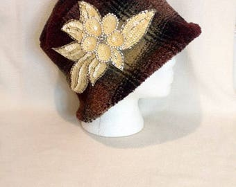 Emberly ~ Handcrafted from recycled clothing, Cloche, Flapper Style, Chemo Hats