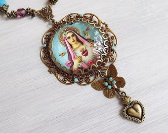 Mary Necklace, Mary Pendant Necklace, Blessed Mother, Catholic Jewelry, Turquoise Gypsy Necklace, Gypsy Jewelry, Boho Necklace, ex voto