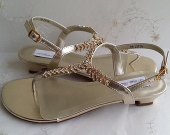 Gold Wedding Shoes Gold Wedding Sandals Bridal Sandals with Rhinestone Design- Pick your Color!  Over 100 Color Choices Available