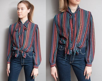 Vintage 1970's | Graphic | Semi Sheer | Ascot Collar | Blouse | Top | S/M