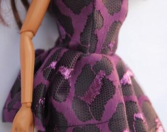 doll clothes - purple short dress (90)