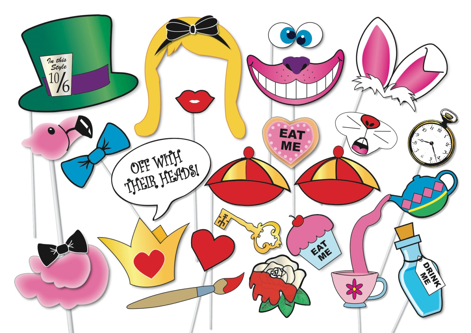Amato Alice in wonderland Party Photo booth Props Set 33 Piece QY12