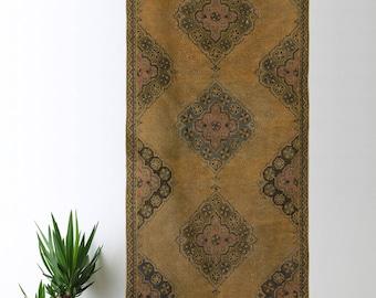 Large Oushak Turkish Runner Rug Oushak Decorative Handwoven Rug Turkish Antique Rug 3.2 ft x 11.4 ft FB-06