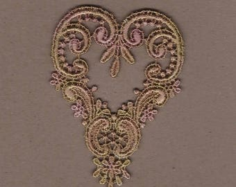 Hand Dyed Venise Lace Applique Victorian Heart Vintage Shabby Bliss