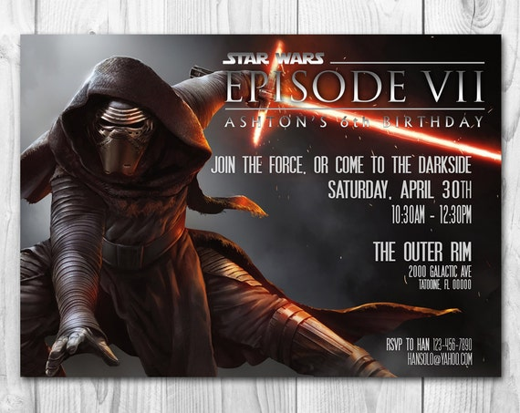 Star Wars Birthday Greeting Free ~ Star wars invitation kylo ren invitation star wars