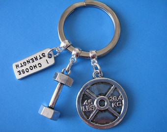 Weight Lifting Keychain Weights Dumbbell Barbell Strength Training Keyring