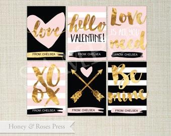 Gold Valentine's Day Cards . Pink Valentines . Kids Valentines Cards. Printable Valentines . Instant Download