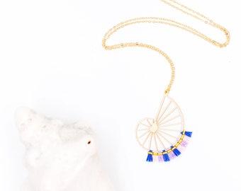 Long necklace gold seashell mini-pompons CALYPSO