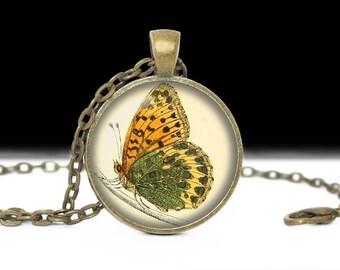 Butterfly Pendant Butterfly Jewelry Wearable Art Butterfly Necklace Green Butterfly Jewelry Charm Butterfly Photo Pendant
