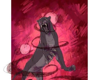 "Maybe I'll Catch Fire 8.5X11"" Signed Digital Lion Art Print"