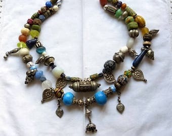 Nomadic Talisman Silver and Trade Beads Tribal Necklac with Persian Donkey Beads, Yoni Leaf Pendants, Lapis, etc