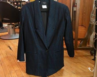 90's Vintage Blue and Black Check Sport Coat Menswear Jacket EGO Fashions