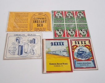 VINTAGE LABELS ADS Lot Three 5 Labels Vintage Advertising Labels