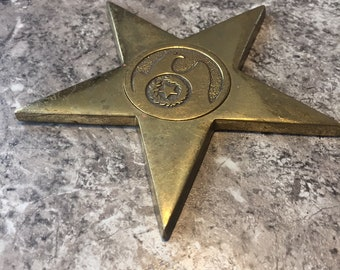 Vintage Brass STAR with Eagle Wreaths Emblem Ornament Medallion USA