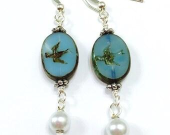 Bird Earrings, Boho Earrings, Bohemian Jewelry, Czech Glass and Pearl Earrings, Gypsy, Hippie
