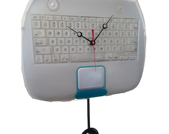 Apple Computer iBook Clamshell Laptop Keyboard Pendulum Wall Clock. Unique Gift. Gift for Him, Office Gift, Office Award, Apple Clock.