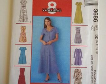 Maxi Dress / summer / V neck /short sleeve /A Line /teacher dress  2002 sewing pattern, Bust 34 36 38 40, Size 12 14 16 18, McCalls 3686
