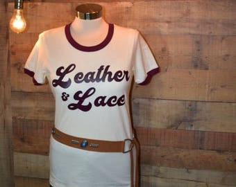 Leather & Lace Retro Ringer Tee