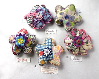 Quilty Sachet Magnets / Assorted Fragrants / Exotic Summer Flowers / Gifts / Novelty / Folk Art / OOAK