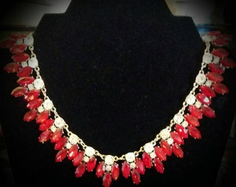 After Life Accessories Repurposed Red Rhinestone Necklace