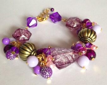 Purple Cluster Bead Bracelet