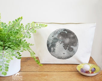 Moon Canvas Wash Bag, Large Zipper Pouch, Makeup Bag, Toiletry Bag, Accessory Bag