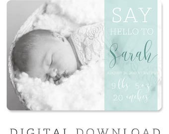 NAME BIRTH ANNOUNCEMENT - Photo Baby Announcement - Baby Girl Announcement - Baby Boy Announcement - Newborn, Modern, Printable, Digital