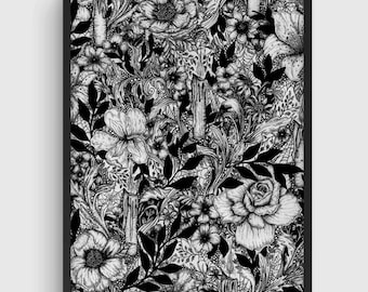 Gothic Art, Botanical Illustration, Occult Art, Ink Drawing, Black White Print, Black White Art, Drawing Illustration, Victorian, Witch Art