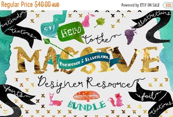 70% OFF Sale Digital Graphic Designer Resource Bundle - Fonts, Clip Art, Watercolor, Gold, silver, platinum Foil, Script Typeface