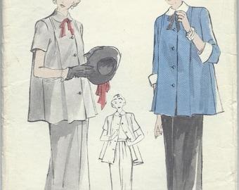 Vintage 1950s Butterick Sewing Pattern 4945 Maternity Smock and Skirt Adjustable Waistline / Size 14 Bust 32
