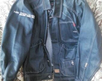 FUBU jacket, vintage hip hop denim jacket, shiny metallic blue jacket, 90s hip-hop clothing, 1990s, OG, gangsta rap, size S Small